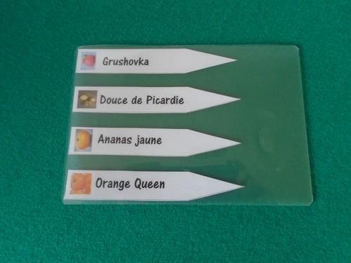 étiquettes à semis sous film plastique