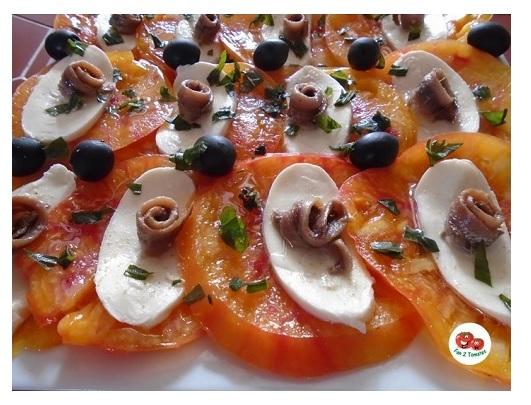 carpaccio AJ pour une recette avec des tomates