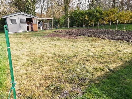 grillage de l'herbe pour agrandir le jardin